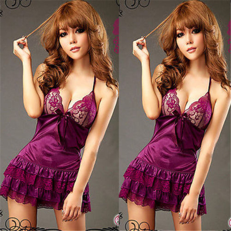 Women Sexy Lingerie Lace Babydoll Chemise Porno Sexy Underwear Dress Solid Red Black Transparent Erotic Lingerie Sexy Costumes