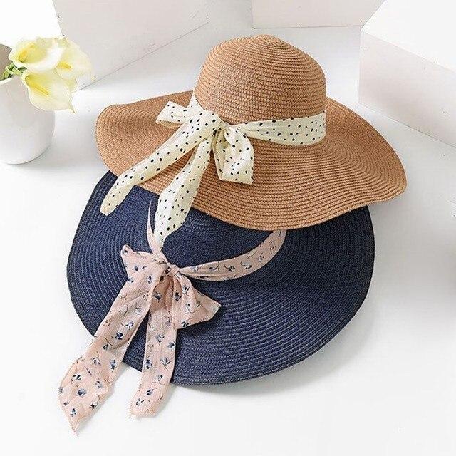 2019 new summer female sun hat bow ribbon panama beach hats for women chapeu feminino sombrero floppy straw hat
