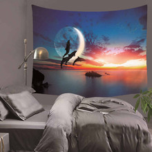 Moon Eclipse Changing Tapestry Galaxy Printed 3D Art Carpet Landscape Tapestry Home Decor Wall Hanging Decorative Tapestry цена 2017