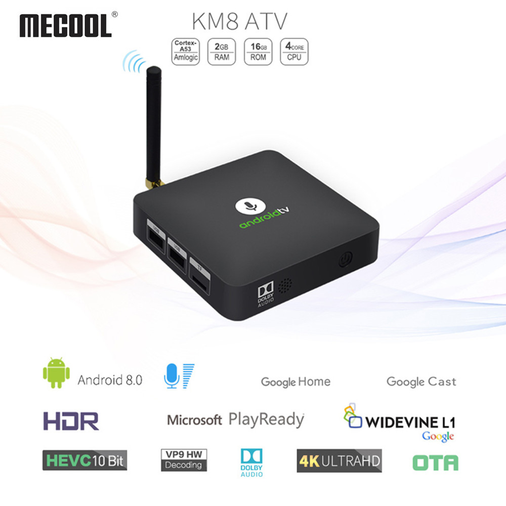 MECOOL KM8 Google Certified Android TV Box With Voice Remote Amlogic S905X Android 8.0 2GB 16GB Set Top Box Support Youtube 4K цена 2017