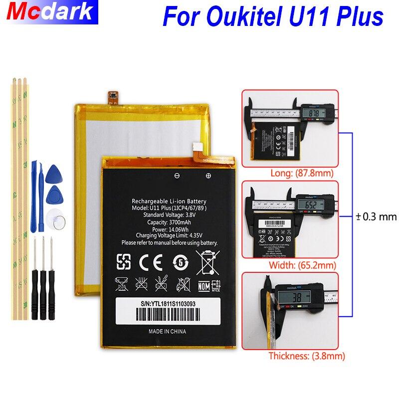 Mcdark 3700 mah Bateria De Backup Para Oukitel U11 Plus ACCU Batterie Bateria do Acumulador AKKU PIL Mobile Phone + Ferramentas