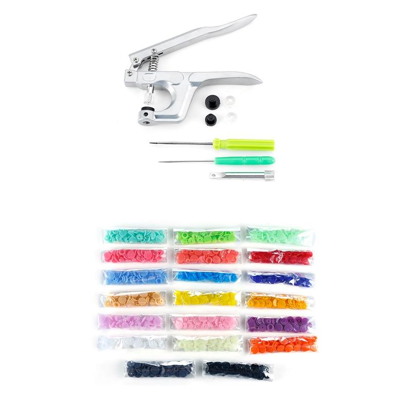 800 pces/200 conjunto t5 para t3 t8 roupas botão + alicate kit plástico prendedor pressão resina parafuso prisioneiro de imprensa para o tamanho 16 20 24 snap