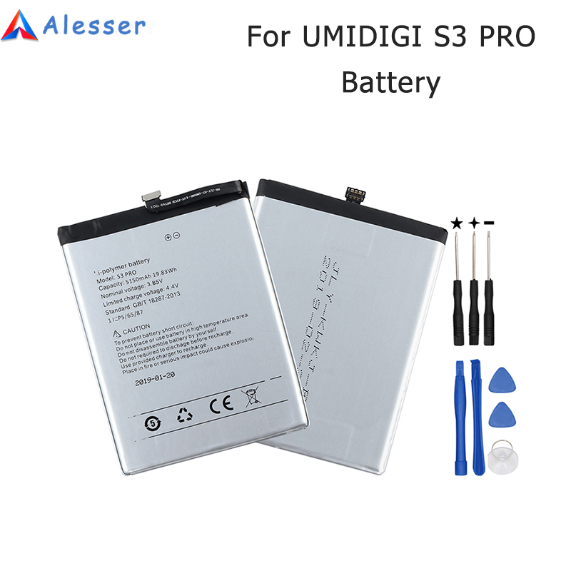 Alesser For UMI UMIDIGI S3 PRO Battery 5150mAh 100% New Replacement Accessory Accumulator For UMIDIGI S3 PRO Mobile Phone +ToolsAlesser For UMI UMIDIGI S3 PRO Battery 5150mAh 100% New Replacement Accessory Accumulator For UMIDIGI S3 PRO Mobile Phone +Tools