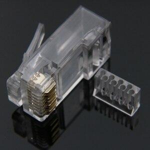 Image 2 - Xintylink rg45 conector de cabo ethernet rj45 tomada cat6 rede rg rj 45 8p8c gato modular 6 utp unshielded jack banhado a ouro 50 peças