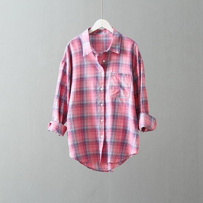Qiukichonson Multicolor Plaid Summer Blouse Women 2019 Korean Fashion Casual Tops Low-High Design Long Sleeve Cotton Shirts
