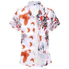 Mens Dress Shirts Short-sleeved Hawaiian Floral Blouse Clothing Beach style Summer Camisa masculina