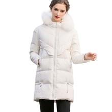 Women Winter White Big Fur Collar Duck Down Parka Warm Coat Jacket Female 2019 New Fashion Vintage Over The Knee Outerwear HJ63 цены онлайн