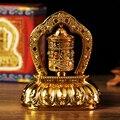 Tibetischen Tibet Buddhistischen Solar Energie Vergoldung OM Gebet Rad Spinning Für Auto-in Statuen & Skulpturen aus Heim und Garten bei