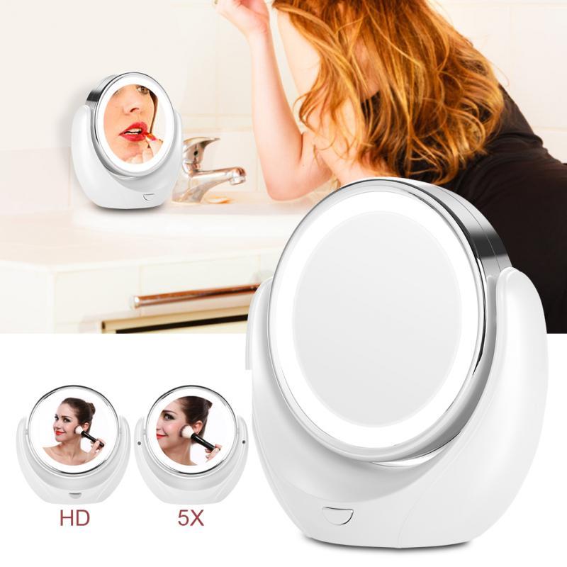 EntrüCkung Led Hd 5x Lupe 360 Grad Drehbare Doppel-spiegel Make-up Eitelkeit Spiegel Make-up Spiegel Haut Pflege Werkzeuge