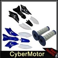 Plastic Fairing Fender Kit + Soft Rubber Throttle Grips For Yamaha TTR50 TTR50E 2006 2016 Dirt Pit Motor Bike Motorcycle