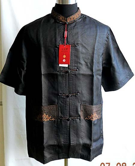 夏黒中国の伝統 100% シルクメンズカンフーシャツトップ半袖サイズ s XXXL YF1154  グループ上の メンズ服 からの カジュアル シャツ の中 1