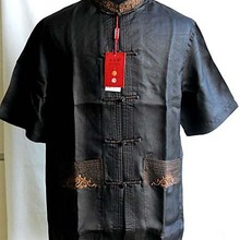 Summer Black Chinese tradition 100% silk Men's  KungFu shirt top Short Sleeves Size S to XXXL YF1154