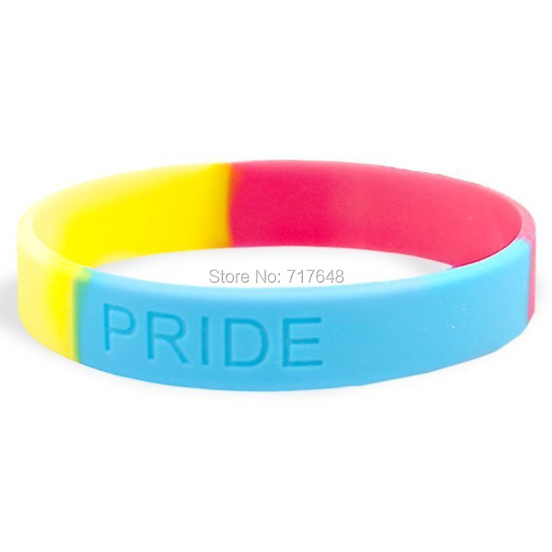 100pcs Pansexual Pride wristband silicone bracelets free shipping by epacket A