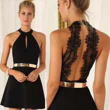 2019 Newest Hot Lace Dresses Women Backless Casual Summer Party Halter Neck Sleeveless Chiffon Short Mini Dress Black A Line(China)