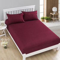 1pcs 100%Polyester Solid Fitted Sheet Mattress Cover Four Corners With Elastic Band Bed Sheet 58