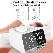 лучшая цена Bluetooth Radio Alarm Clock Digital Alarm Clock Speaker Temperature 2 USB Ports LED Display Table Snooze Table Clock Home Decor