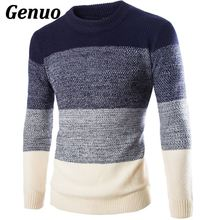 Patchwork Sweater Men 2018 Thickening Pullover Sweater Male O-Neck Color Block Slim Fit Knitting Sweaters Men Pullover Genuo