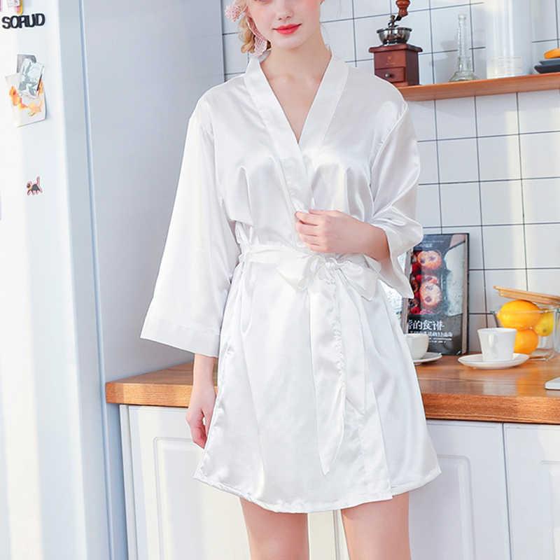 608c0426deda2 ... Silk Robe Female Sleepwear Bridesmaid Robe Wedding Kimono Robes Womens Bathrobe  Peignoir Embroidery Long Bride Satin ...