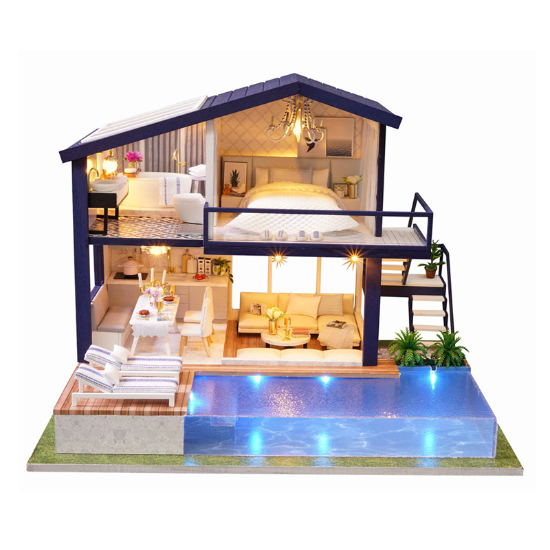 CUTE ROOM New Miniature Dollhouse DIY Dollhouse with Furniture Dust Cover Fidget Wooden Toys for Children
