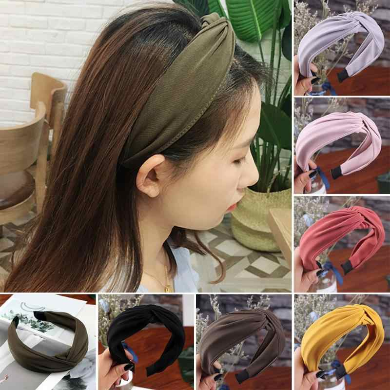 Women Hair Accessory Hairbands Cross Tie U Shape Head Hoop Hairband Twist Cloth Simple Accessory Yellow Bow Knot Wide Headband Bright In Colour Apparel Accessories