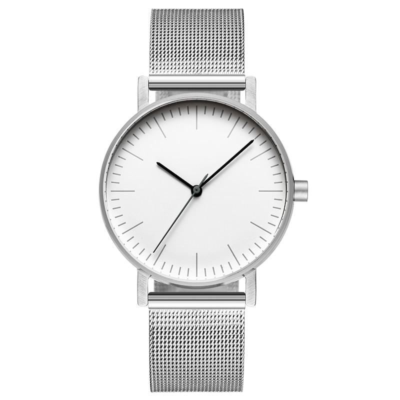Bauhaus Minimalist Style Leather Watch Swiss Rhonda 763 Movement Minimal 36mm Stainless Steel Meshbelt Couple Watch