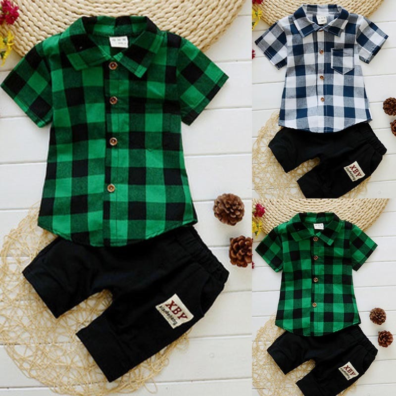 Boys Set 2019 New Boy Lapel Shirt Two-piece Suit Children Small Gentleman Wear Casual Clothes Children's Clothing(China)