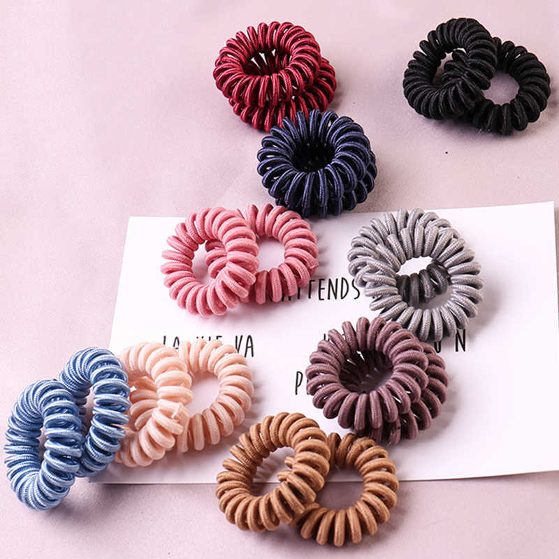 Popular 1 ud. De cintas para el pelo de cuerda en espiral liso para niñas, anillos para el cabello de alta elasticidad para mujeres, accesorios para el cabello en espiral para teléfono