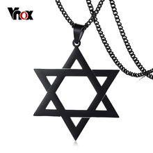 "Vnox Megan Star of David Pendant Necklace for Men Male with 24"" Chain Stainless Steel Israel Necklace 3 Colors Option(China)"