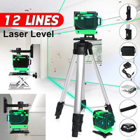 Laser Level with Tripod 12 Lines 3D 360 Self-Leveling High Precision Powerful Horizontal And Vertical Cross Green Beam