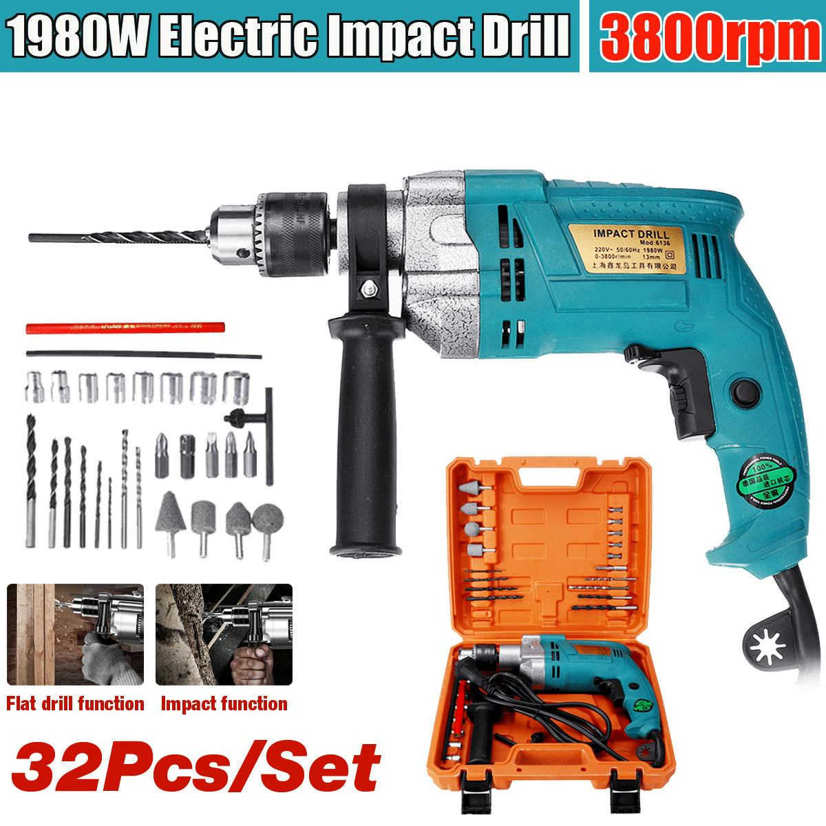1980W 32Pcs Electric Brushless Impact Drill Drilling Guns Impact Electric Drill Electric Rotary Hammer Torque Driver Tool