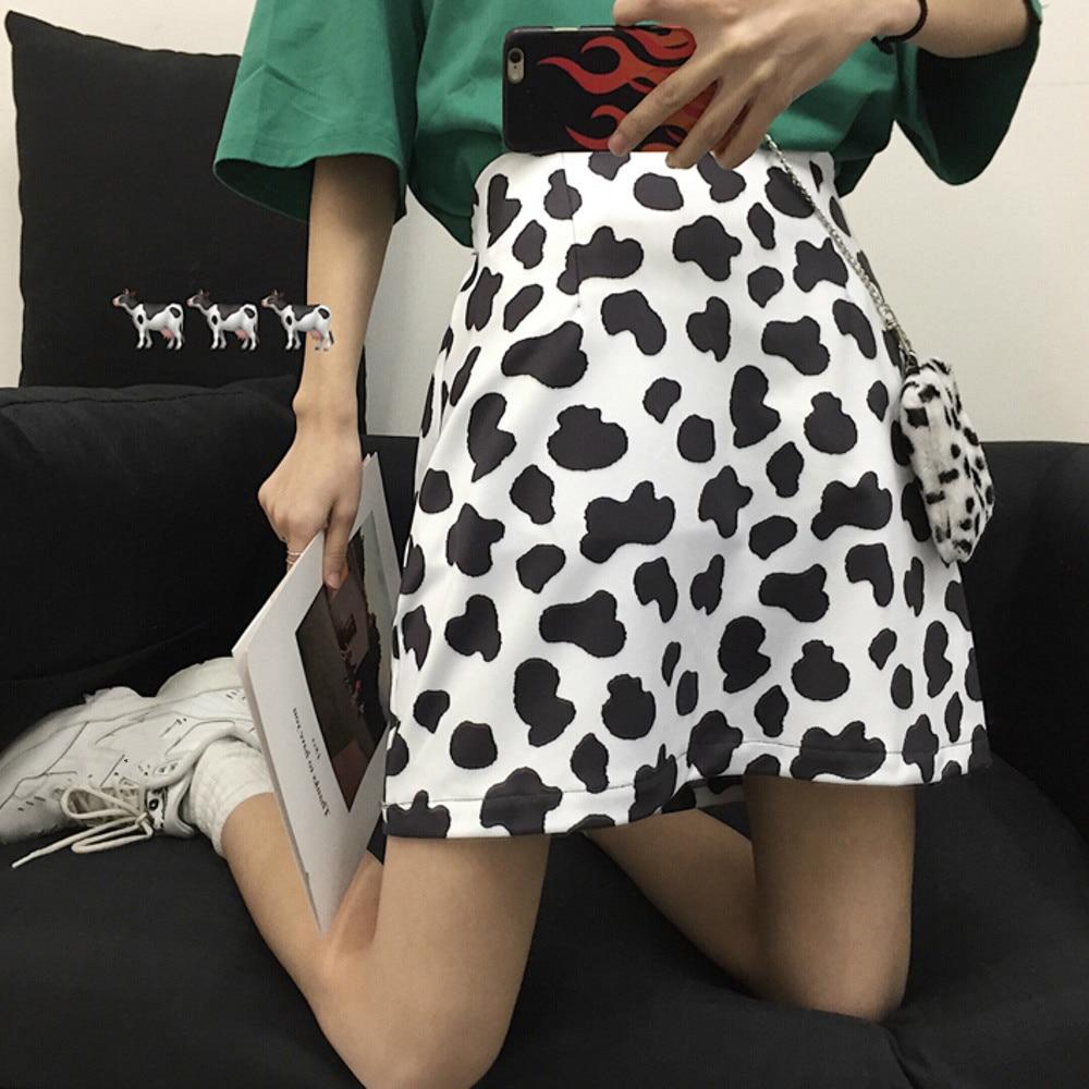 Cute Cow Pattern Printing A-line Mini Skirt Women Preppy Style Girl High Waist Casual Short Skirt