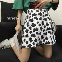 Cute Cow Pattern Printing A-line Mini Skirt Women Preppy Style Girl High Waist Casual Short Skirt