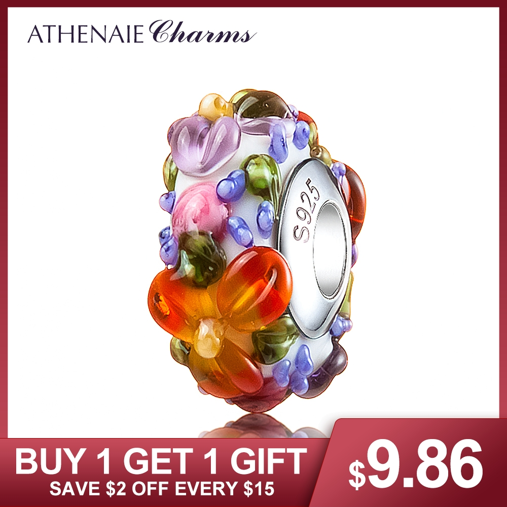 ATHENAIE Murano Glas 925 Silber Core Hawaiian Maui Floral Lei Charm Bead Fit Pandora Armband und Halskette Mode DIY Schmuck