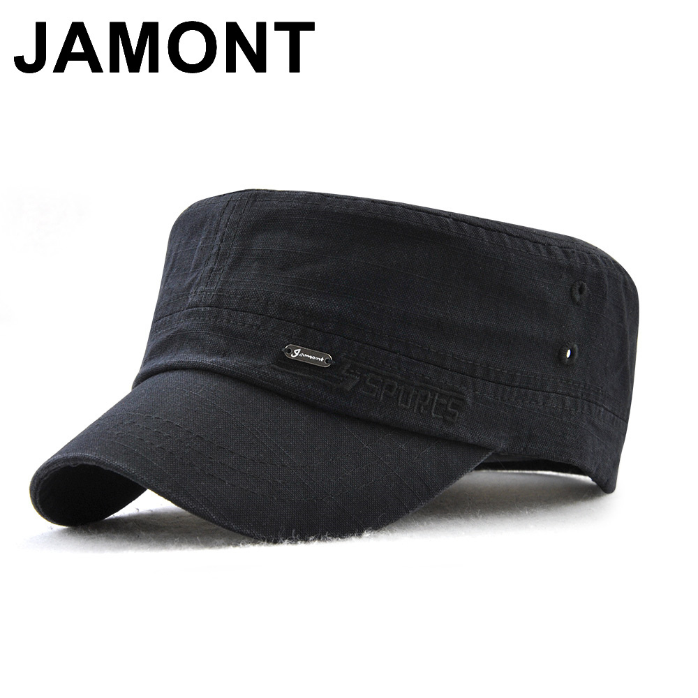 fd8b8579cf118 Jamont Military Style Cadet Army Cap Men Women Pure Color Washed Cotton  Flat Top Cap Summer