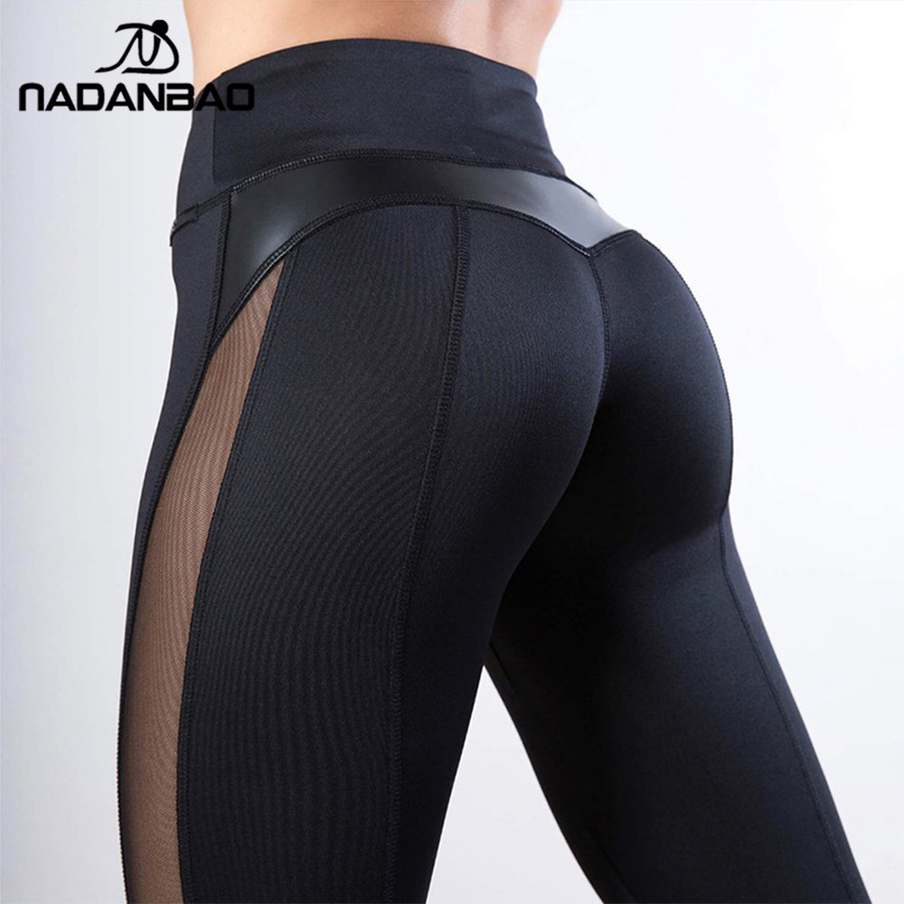 NADANBAO Ruching Push Up High Waist Women Leggings Sporting Fitness Legging Sexy Mesh Workout Sportswear Leggin Pants