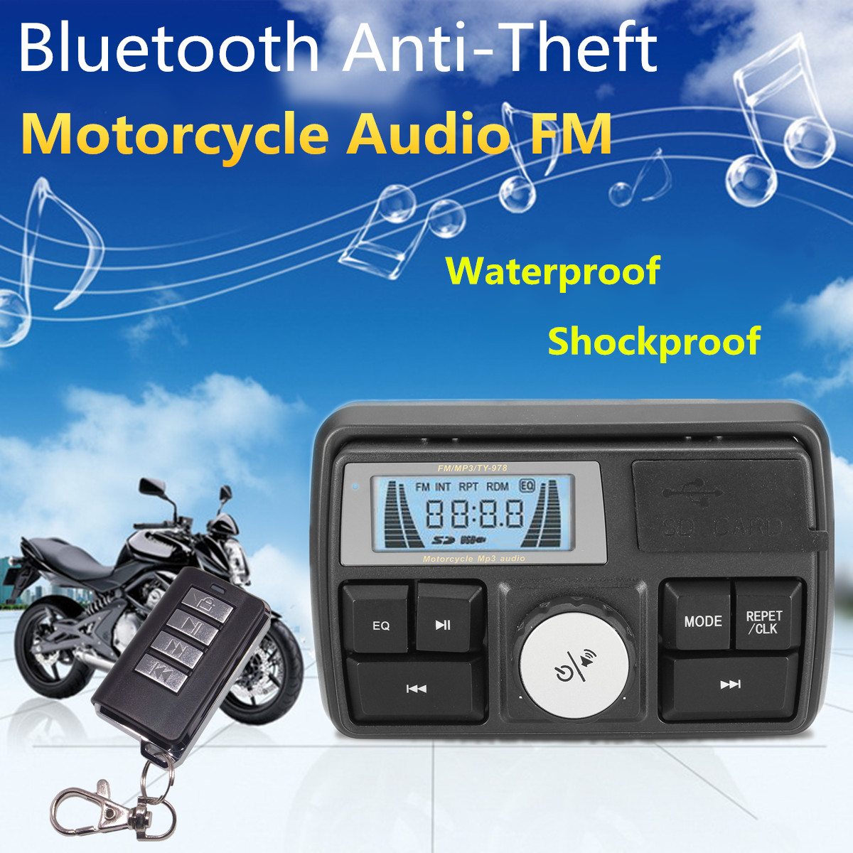 Autoleader Motorcycle Audio MP3 Radio Sound System Stereo Speakers Bluetooth Waterproof FM 5 EQ Functions LCD Display USB/SD/TF