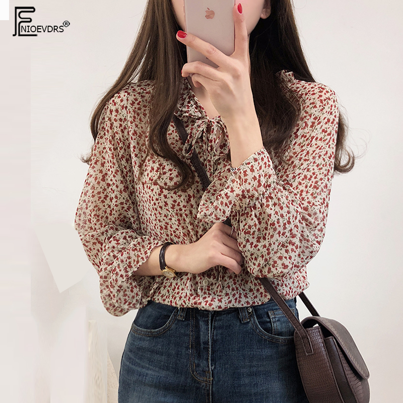 2019 Spring Summer womens tops   blouses   Korean style clothes flare sleeve bow tie top floral print vintage cute   blouse     shirt   J828