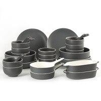 Зал Европа INS керамика посуда 2 6 человек едят на пару рисовая чаша тарелка для стейков суп чаша чаши и блюда пластины домашний костюм