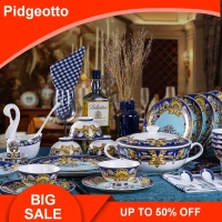Luxury Blue Ocean Bone China Dinnerware Sets Dishes Plates Western Clubhouse Upscale Heart Of The Sea Ceramic Tableware