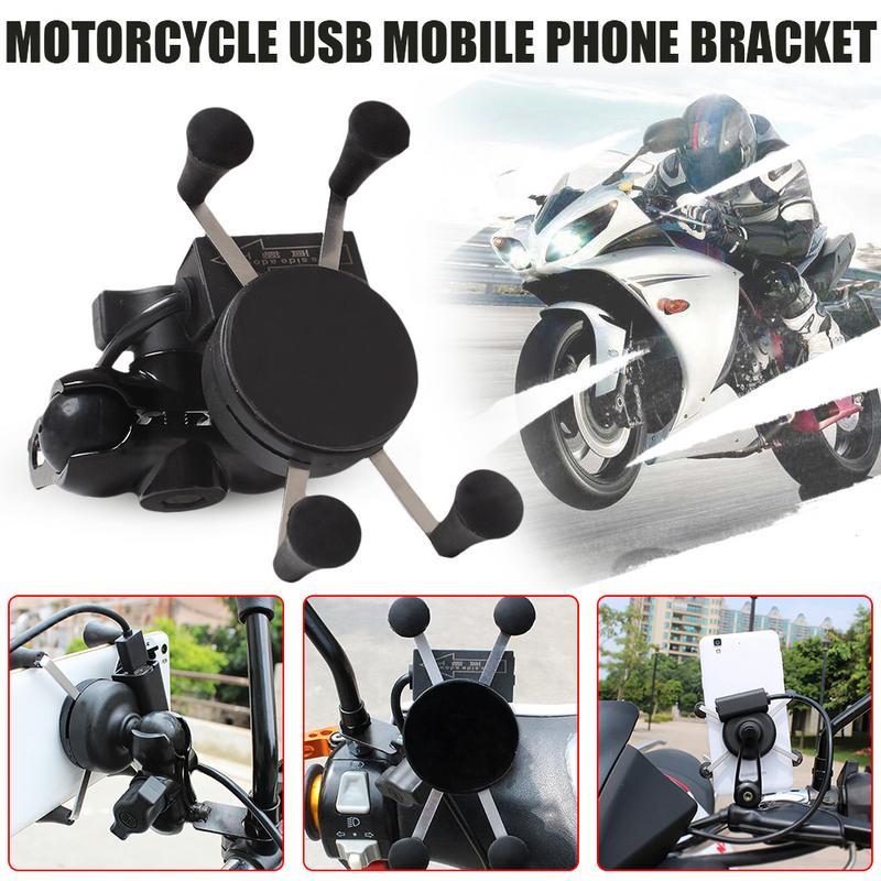 Держатель для телефона для мотоцикла с usb-зарядным кронштейном, универсальный, 360 градусов, регулируемый на велосипед, велосипедный мотор, з...