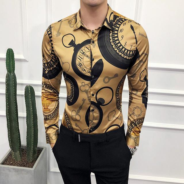 Men Long Sleeve Gold Shirt Slim Fit