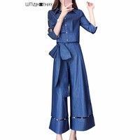 2019 Spring New Casual Denim Suit Women Loose Short Tops Bow High Waist Wide Leg Fashion Tees Patchwork Beading 2 Pieces Suit 03