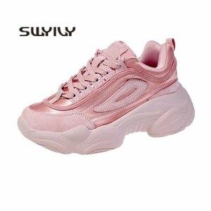 Image 2 - SWYIVY 2019 المرأة أحذية رياضية الصيف أبي أحذية النساء منصة جديدة أحذية رياضية أبيض/وردي حذاء كاجوال الإناث تنفس أحذية رياضية