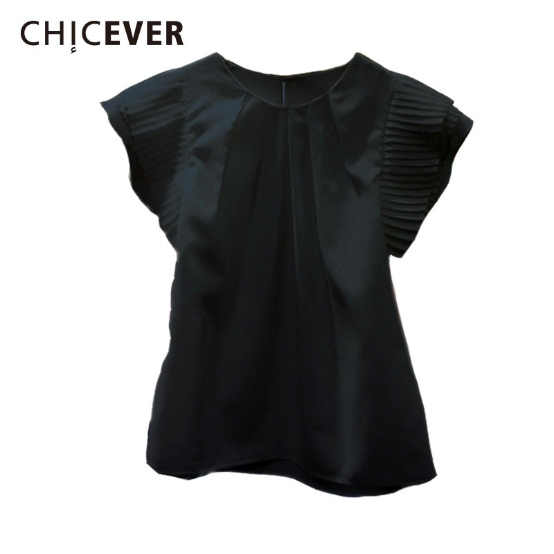 CHICEVER Ruffles White Women Tops And Blouses O Neck Short Sleeve Slim Black Women's Shirts Korean Fashion Casual Clothes New