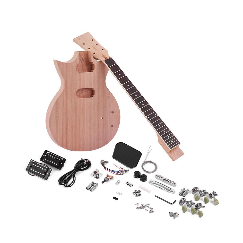 buy muslady unfinished diy electric guitar kit electric guitar diy set mahogany. Black Bedroom Furniture Sets. Home Design Ideas