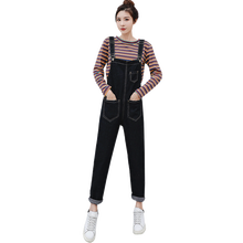 2019 new spring pregnant women denim overalls plus size high waist maternity cotton jumpsuits black/denim blue casual suspenders(China)