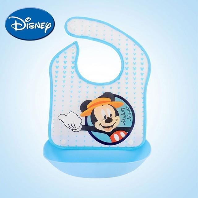 Baberos de bebé de Disney desmontable impermeable paño de eructo estampado de dibujos animados Mickey Minnie Pooh Sofia accesorios de bebé suave Dinning Baberos