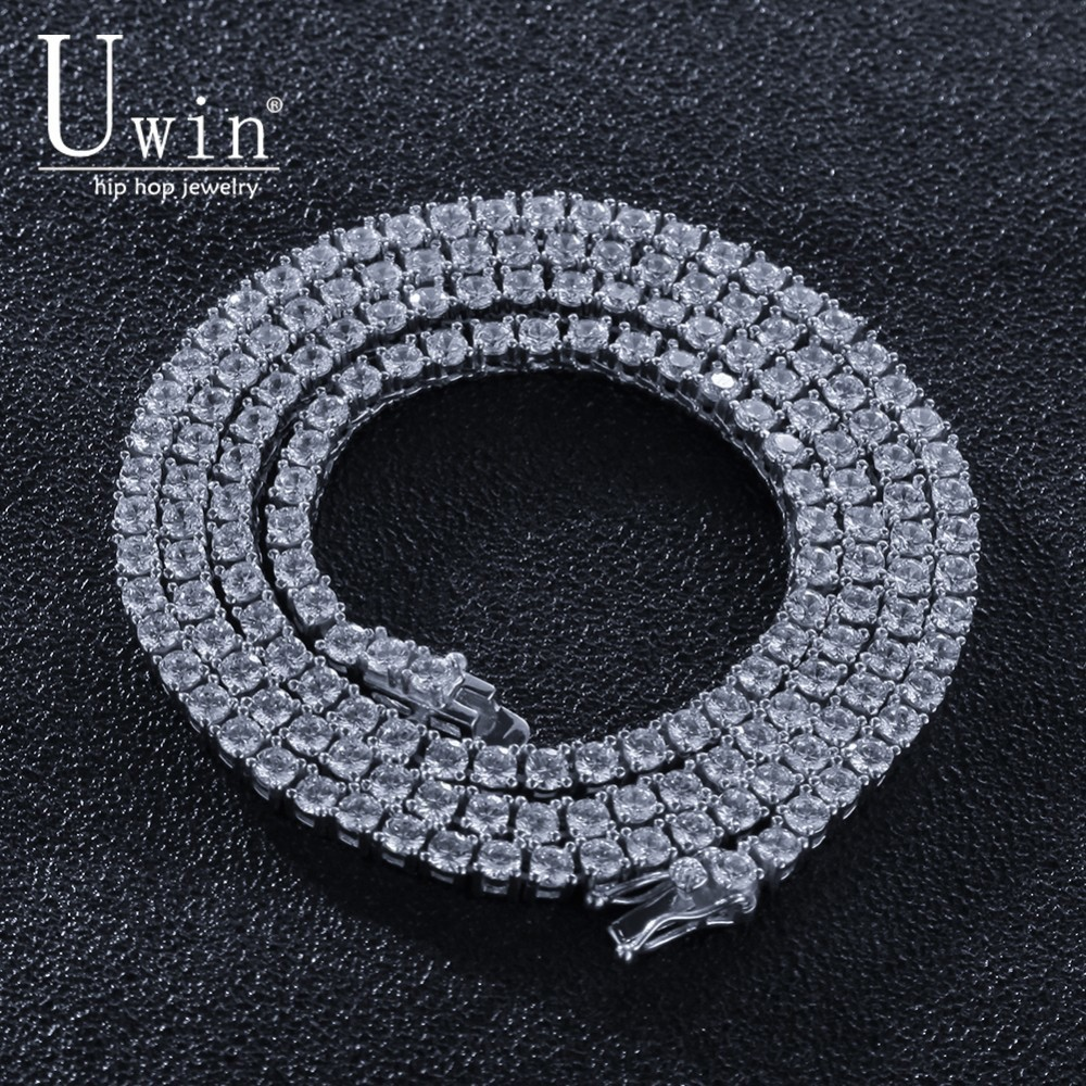 Uwin 100% 925 chaîne de Tennis en argent Sterling zircon cubique 4mm 1 rangée de luxe CZ glacé Hip hop collier cadeau