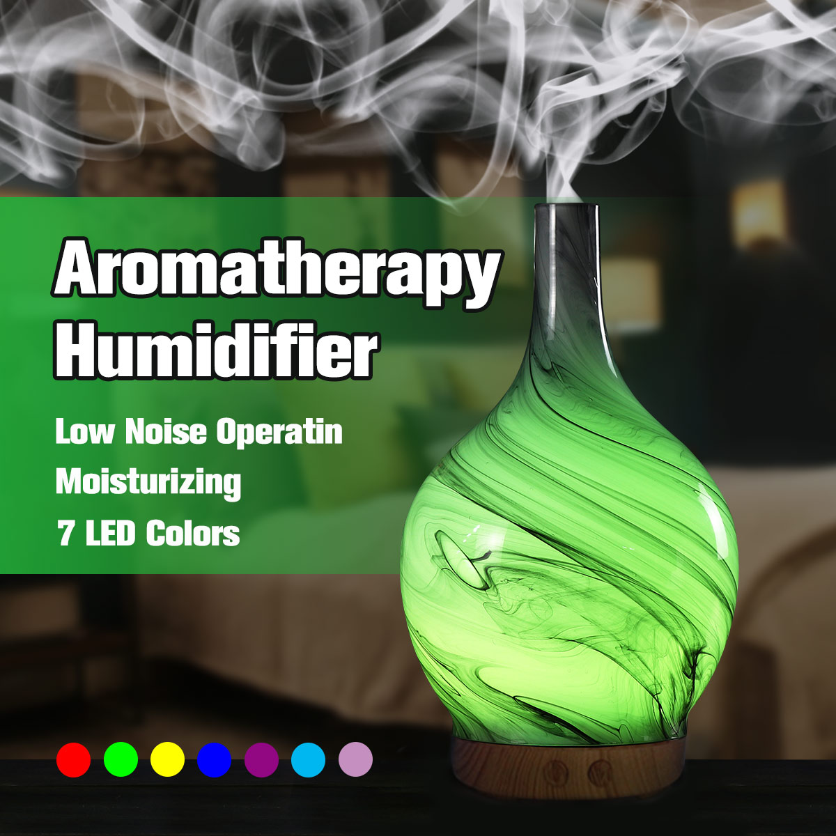 100ml Ultrasonic Air Humidifier Glass Essential Oil Diffuser Aromatherapy Vase Shape LED Light Home Office Living Room Spa Yoga