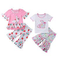 2 pçs conjunto da criança crianças da menina do bebê presente de páscoa manga curta coelho camiseta topos babados queimado calças calças roupas meninas